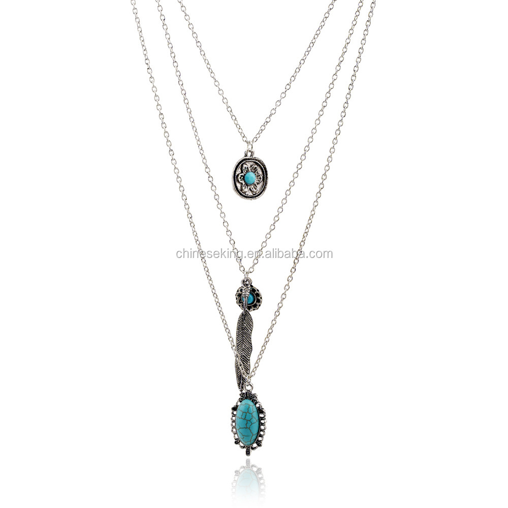 Silver thin chain alloy feather pendant necklaces 3 layers turquoise charms necklaces for best girlfirends love gifts