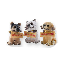 Resin Dog Garden Decor, Decorative Welcome Sculptures, Comes in a Set of 3