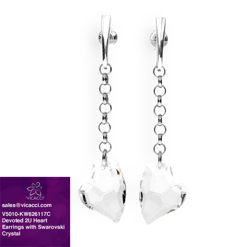 Alibaba Express 925 Fashionable Jewelry Devoted 2U Heart Drop Earrings with Crystals from SWAROVSKI