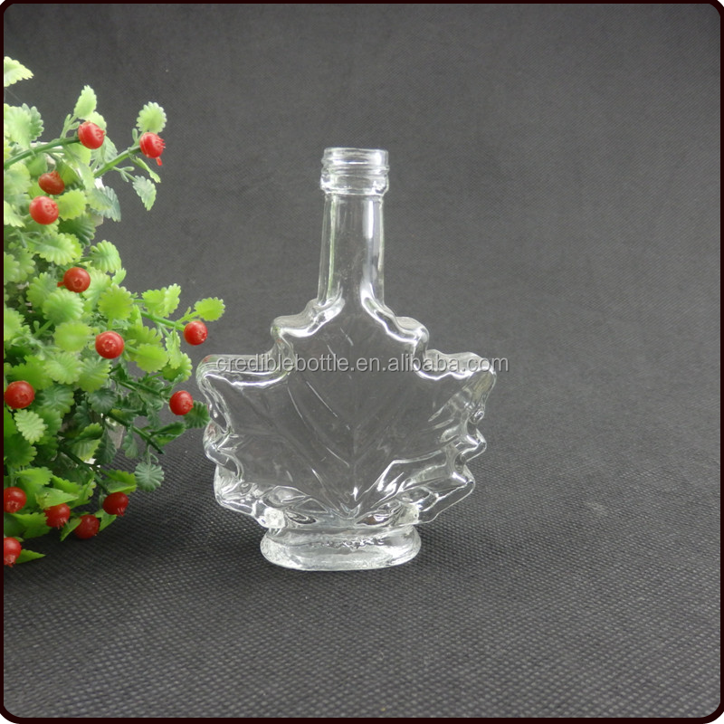 50ml clear maple leaves glass bottle for maple syrup