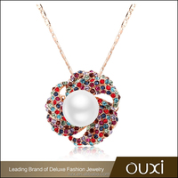 OUXI fashion crystal chain pearl necklace11322-1
