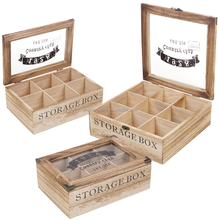 Custom 9 compartments Chinese gift wooden tea packaging storage box with glass top lid