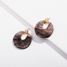 Wholesale New Latest Acrylic Circle Post Earrings With Gold plated Hoop Earrings acetate stud earring for girls and lady