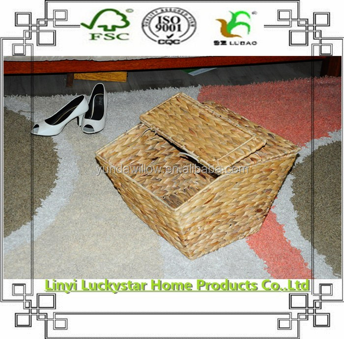 Furniture Cover Type Water Hyacinth Basket With Lid
