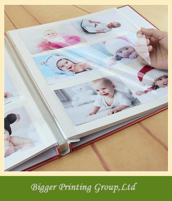 Promotional printed photo album/digital embossed leather photo book printing