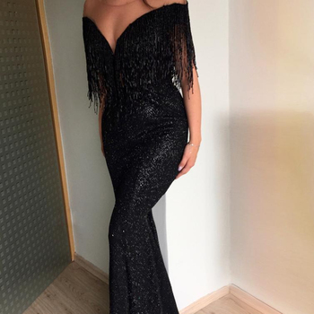 2019 Newest sexy lady evening/party long dress with tassel dress shoulder off dress