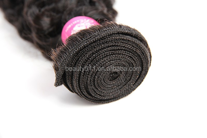 No shedding high quality raw unprocessed deep wave deep curl remy human hair HS0201