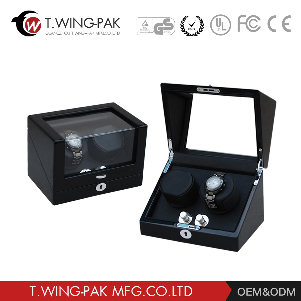 Customized 2 rotors with luxury piano lacquered Automatic Rotating Wooden Self-winding Watch Winder
