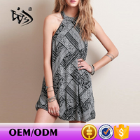 China Clothing neck halter open sexy Casual Trapeze Print Sweet Woman Dress Fashion New Customize Ladies Latest