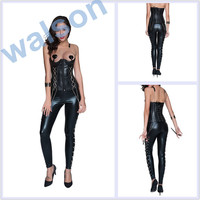 Walson Walson black corset leather catsuit