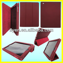Red Folding Magnetic PU Leather Tri-folio Stand Case Cover for iPad 4 3 2 Wholesale Good Price