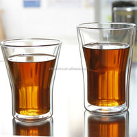 2-pc set double wall glass cup for drinking