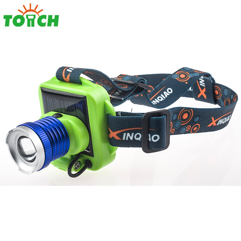 XPE Mini Led Solar Lampe Frontal Powerful Lightweight Headlamp Tactical Zoomable Headband Lamp with Usb Cable