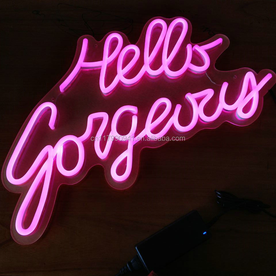 hello gorgeous decorative led flexi neon <strong>sign</strong>