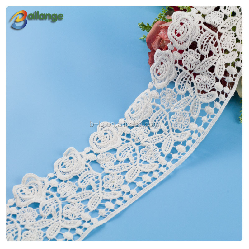 White color lace fabric for cloth custom design lace trim with cross