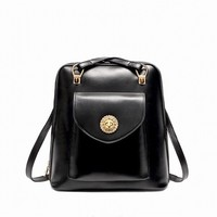 royal black fashion high quality PU leather trending bags backpack 2015