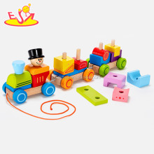 wholesale top quality kids wooden building blocks train set hot sale wooden building blocks train set W05C037