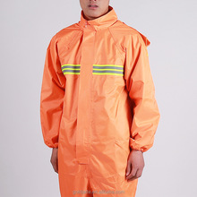 High Visibility Safety orange rain gear wear rain suit polyester /pvc nylon/Rubber rain coat waterproof