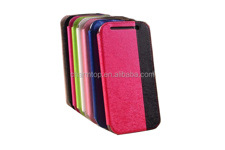Contrast Color Leather Flip Case For HTC One M8