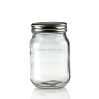 16oz/500ml Square round glass mason jars with Gold/Silver/White/Black Metal Lid