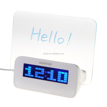 New perfect Gift Blue LED Lit Fluorescent Message Board Alarm Clock
