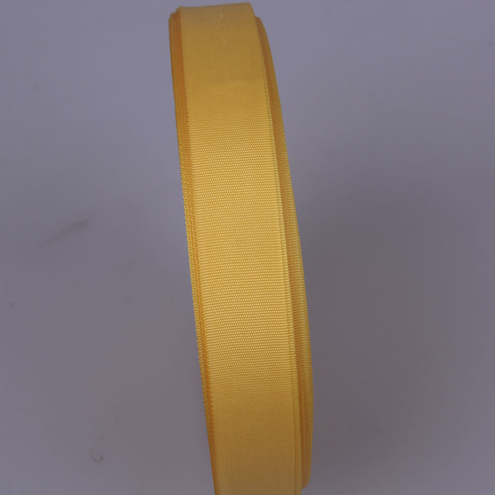 custom 20mm yellow nylon/polyester grosgrain ribbon