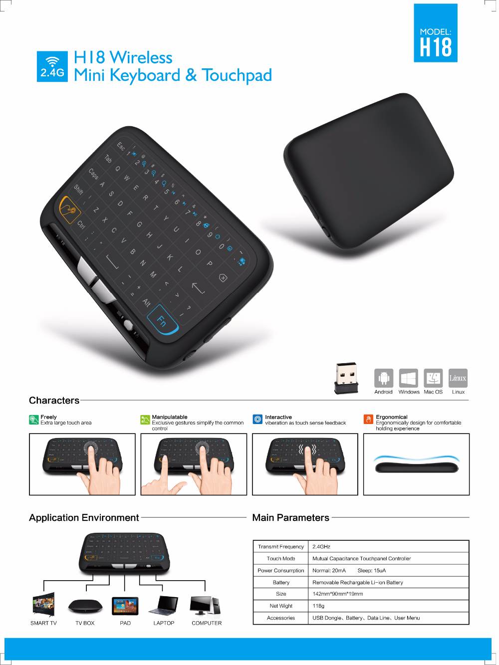 2.4g mini H18 wireless keyboard with touchpad for android smart tv box