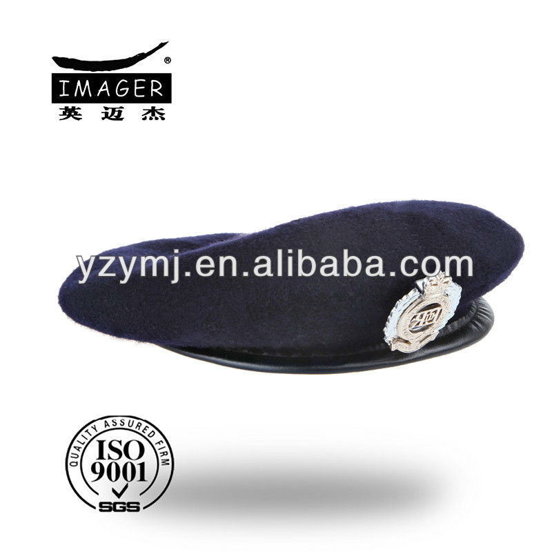 Military uniform flat beret cap with 100% wool
