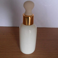 Cosmetic packaging round shoulder opal white essential oil glass bottle with dropper