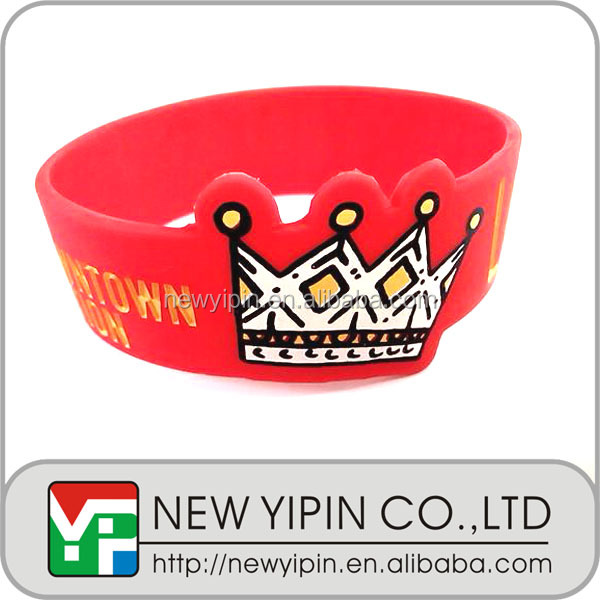 Factory directly wide size crown silicone wristband / bracelet / rubber band with personal design