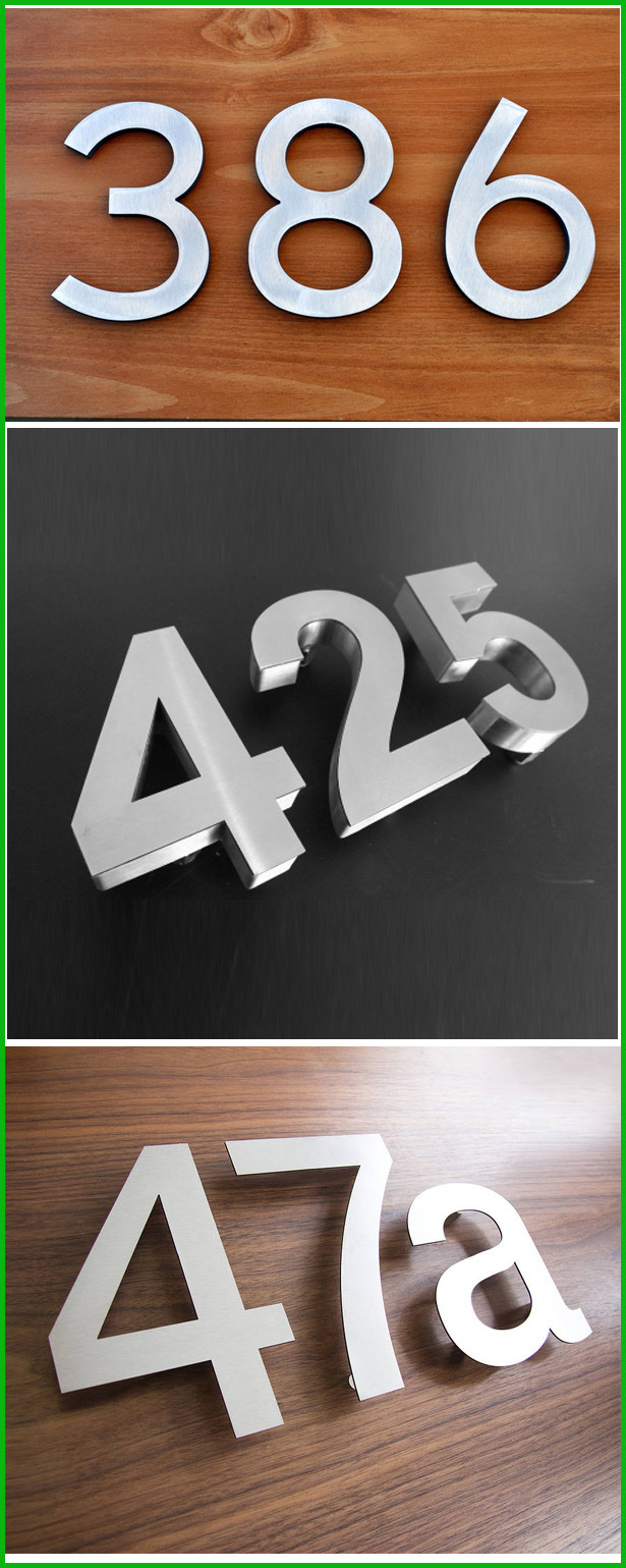 Large modern 3d 304 stainless steel house numbers by pdl for Large 3d numbers