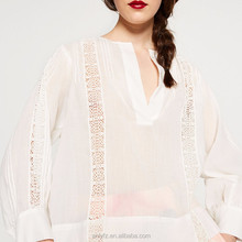 elegant v-neck long sleeve embroidery pure white blouse for ladies,100% hot cotton brand clothing for women