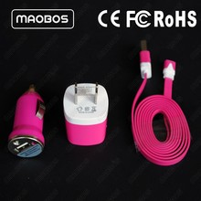 3 in 1 wall charger usb cable phone car charger custom cell phone chargers pink