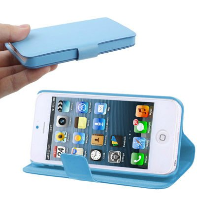 2-angle Viewing Ultra Slim Flip Leather Case with Holder for iPhone 5 (Baby Blue)