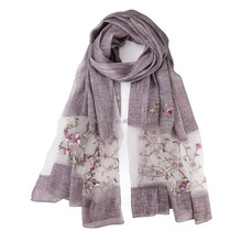 Silk wool embroidered long women scarf wraps