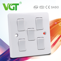 Easy installation low power consumption 5gang 1way anti vandal switch