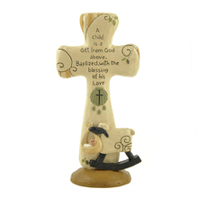 Baby Keepsake Gift Resin Baptism Cross with Sheep