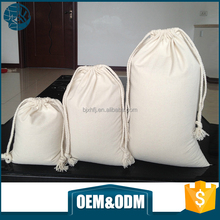 Free sample wholesale custom sized cotton packaging bags white cotton fabric drawstring bag