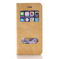FL3642 Luxury Magnet Pure View Case Flip Cover Stand Leather Case Dual Window Case for iPhone 6 4.7 inch