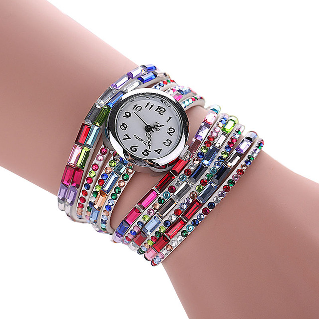 2016 Women Colorful Bracelet Watch Women Diamond Wristwatches Relogio Quartz Casual Female Bracelets Watches