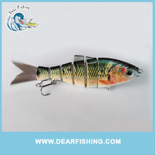 6 segmented jointed shad fishing lure with hair tail swimbait perch carp fishbait