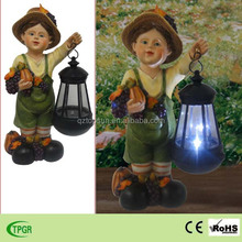 Polyresin boy statue children harvest festival decorations with solar lantern