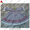 high quality linen fabric ruffle girls smocked dress