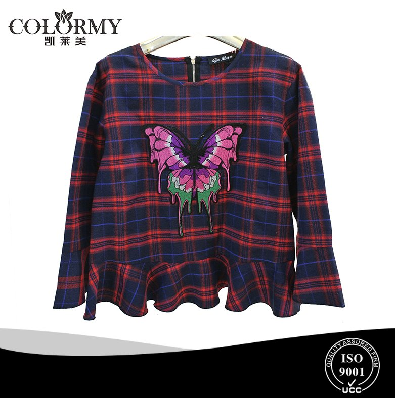 ladies cute thin gingham blouse for winter and autumn long seelve embroidery tops