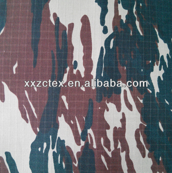 Polyester and cotton water resistant ripstop camouflage fabric