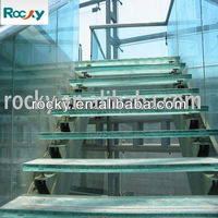 Anti-skidding Forsted Laminated Glass Panel Stairs Treads