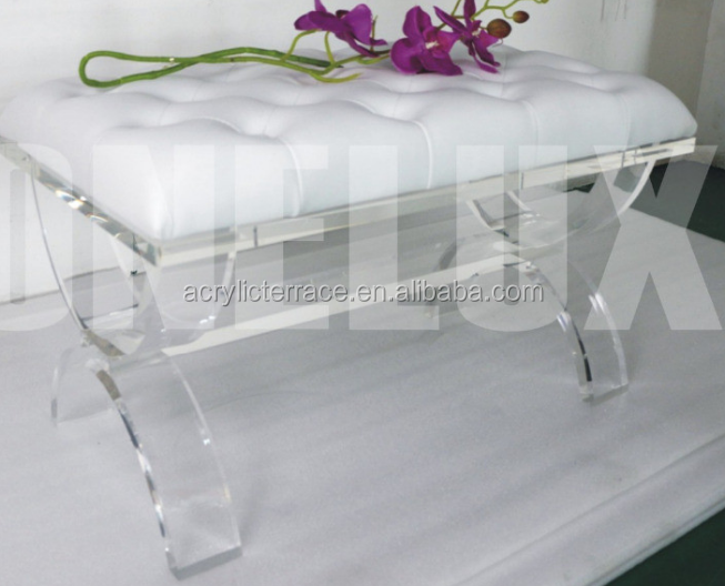 transparent rectangle acrylic ottoman bench with cushion