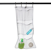 Hot Sale Popluar High Quality Bathroom Save Space Tub Shower Hanging Mesh Organizer 6 Pockets With 4 Metal Buckles