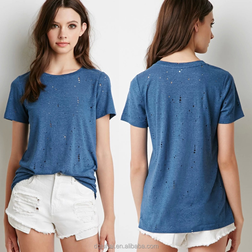 {OEM} Fashion Short Sleeves Small Holes Covered Distressed Crew Neck Tees Women 9728
