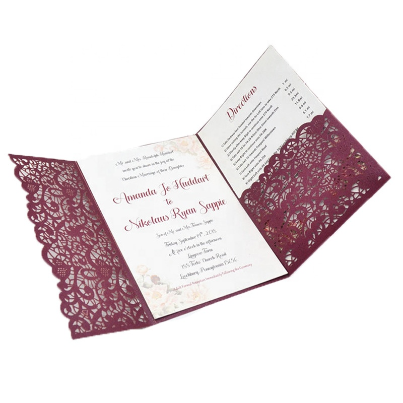 new product 2019 extravagant <strong>wedding</strong> invitations burgundy trifold <strong>wedding</strong> invitation card laser cut card invitation <strong>wedding</strong>